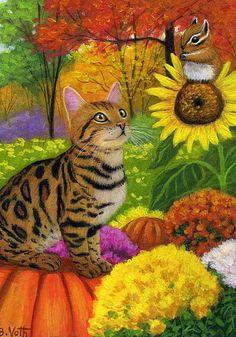 Bengal cat chipmunk sunflower mums fall garden original aceo painting art #Realism
