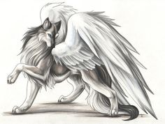 Beautiful and Elegant Mystical/Fantasy Standing Wolf Drawing with Wings tattoo
