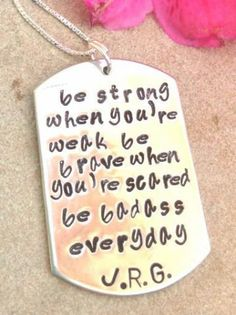 cancer, inspirational necklace, be strong when you are weak, be badass everyday, cancer, give hope necklace by natashaaloha for $45.00