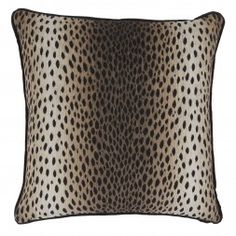 Ocelot Snow Pillow with Black Linen Flange Ocelot Snow Back feather, down insert Made in the USA