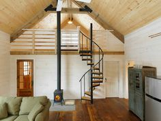 Winter Cabin - Rustic family room with exposed wood - Spiral staircase to loft - Could see this as the inspiration for a small house Lofts, Loft Design, House Design, Cabin Design, Garage Design, Rustic Design, Rustic Style, Loft Stairs, Loft Railing