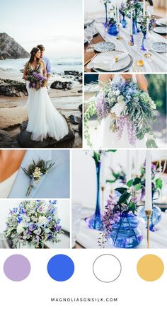 a spring wedding color concept in violet and blue is perfect, the wedding colors are violet and blue, violet spring wedding, wedding color scheme for spring wedding themes Top 5 Spring Wedding Color Palettes Blue Color Schemes, Wedding Color Schemes, Wedding Color Palettes, Wedding Color Combinations, Blue Colors, Star Wedding, Dream Wedding, Wedding Blue, Fall Wedding