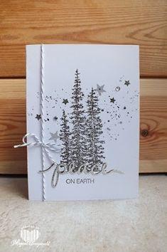 Dit keer een zwart/wit zilver kaartje. Gemaakt met de wonderland stempelset. De tekst is uitgesneden uit zilver karton met de set Holly Jo...
