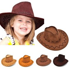 1.32 - Kid Boys Girls Western Cowboy Hat Wide Brim Artificial Suede Party  Costumes Hat  ebay  Fashion 2ae8038d3c8a