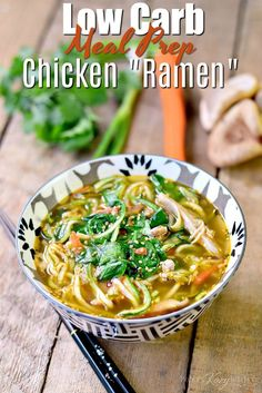 """Low Carb Chicken """"Ramen"""" - This Keto Meal-Prep Ramen Recipes, Low Carb Recipes, Diet Recipes, Healthy Recipes, Noodle Recipes, Ketogenic Recipes, Lunch Recipes, Asian Recipes, Healthy Food"""