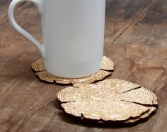 Rustic tree ring coasters made from laser cut by CathedralNest, $30.00