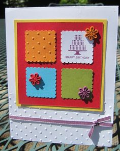 Perfect Postage stamps with Polka Dot embossing folder - I'm doing it with Bashful Blue bg, squares in WW, Pear, Crumb + Bashful. Punched flowers with mini brads in the centre. Stamp cake in Cherry Cobbler, use It's Your Day for words (UK set has no words)