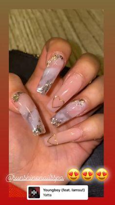 Classy Acrylic Nails, Acrylic Nails Coffin Pink, Clear Acrylic Nails, Cute Acrylic Nail Designs, Coffin Nails, Drip Nails, Glow Nails, Glitter Nails, 21st Birthday Nails