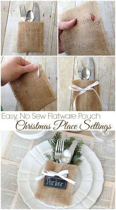 Christmas Place Settings {Easy, No-Sew Flatware Pouch) - Love of Family & Home. Holidays - Christmas and Thanksgiving table setting ideas to wow your guests. #organizingtips #decor