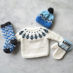 Ravelry: Wee Winter Woolens KAL pattern by Kathy Lewinski Doll Sewing Patterns, Crochet Patterns, Free Knitting, Baby Knitting, Knitting Projects, Crochet Projects, Fair Isle Knitting Patterns, Crochet Snowflakes, Knitted Dolls