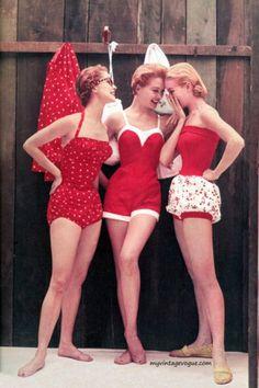 #vintage #bathingsuit #red #colors #girls #friends #theme #costume #halloween