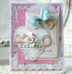 Friends Shabby Chic Handmade Card on Etsy, $7.50