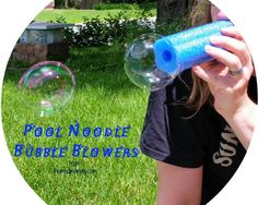 #ThinkOutsideTheToyBox and use some pool noodles to make these fun Pool Noodle Bubble Blowers! They are a great idea for spring fun!