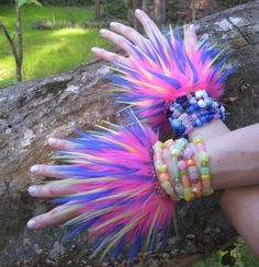 really cool! punky monster wrist bands! Combine with legwarmers perhaps?