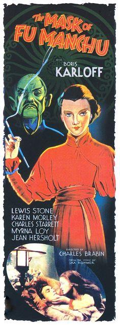 THE MASK OF FU MANCHU (1932) BORIS KARLOFF, MYRNA LOY (1936) Lionel Barrymore, Maureen O'Sullivan. Directed by TODD BROWNING. DVD box set poster art. Hollywood 'LEGENDS OF HORROR' Collection. DVD Box Set, 6 masterworks of terror (2006) A quality DVD set of rare titles that I highly recommend. (please follow minkshmink on pinterest) #boriskarloff #themaskoffumanchu #myrnaloy #horrorposter