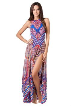 Maxi Dress - Long high neck cover dress. Features a sophisticated geometric print, handkerchief hemline and thigh high slits at both sides. Zips up the back.
