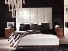 Leather double bed with high headboard GLENN - Orsi