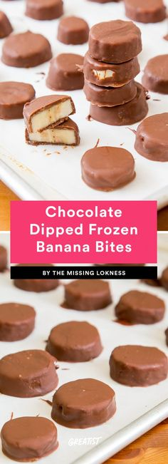 Frozen banana popsicles are great, but do you ever find yourself suffering from serious brain freeze? These Chocolate-Dipped Frozen Banana . Frozen Banana Recipes, Banana Dessert Recipes, Frozen Banana Bites, Frozen Desserts, Fruit Recipes, Frozen Fruit, Frozen Banana Dessert, Pie Recipes, Salad Recipes