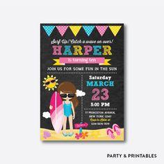 Surfer Girl Chalkboard Kids Birthday Invitation / Personalized (CKB.393)