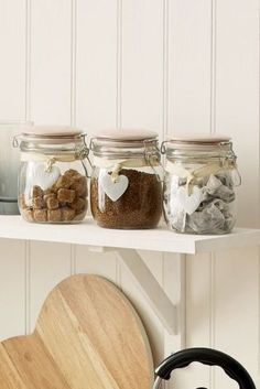 Set Of 3 Clip Top Storage Jars With Ceramic Heart Tags from Next Tea And Coffee Canisters, Tea Coffee Sugar Jars, Coffee Jars, Baking Storage, Jar Storage, Kitchen Storage, Kitchen Items, New Kitchen, Kitchen Dining