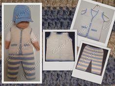 Conjunto de Colete e calça para bebê em crochet