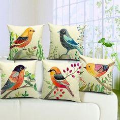 Venda por Atacado 5 styles birds almofadas almofada mão pintada série pássaro presente fronha de linho de algodão sofá capas de almofada para casa decoração 45x45cm, $7.55 em Pt.dhgate.com | DHgate