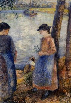 By the Water, 1881 - Camille Pissarro - WikiArt.org