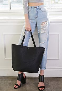 Classic Faux Leather Tote | Forever 21 - 1000115375