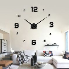 84a742eb9 Hot Offer 2018 modern design rushed Quartz clocks fashion watches mirror sticker  diy living room decor new arrival real big wall clock