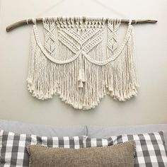 This macrame wall hanging is handmade using all natural materials and fiber. The driftwood is sourced locally in the Pacific Northwest, where I am located. The fibers used are 100% cotton. Because the cotton is in its natural state, unbleached and untreated, it is a very light beige