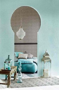 Gabby likes the colors and patterns here. The modern Moroccan living room reveals its secrets! Moroccan Decor Living Room, Morrocan Decor, Moroccan Bedroom, Moroccan Interiors, Living Room Decor, Moroccan Lanterns, Moroccan Design, Moroccan Style, Home And Deco
