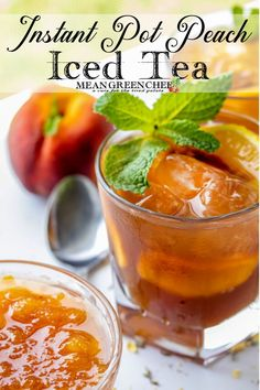 Instant Pot Peach Iced Tea, Southern Peach Sweet Tea perfection! Now that's a mouthful and so is this peachy, sweet, refreshing tea! Versatile and ridiculously easy to make too. It's a lazy hot summer day with your feet propped up on the banister kind of iced tea! Click through for the full recipe and step by step instructions! | Mean Green Chef @meangreenchef #peachicedtea #icedtearecipes #cocktailrecipes #peachrecipes #georgiapeaches #instantpotrecipes #ninjafoodirecipes #meangreenchef