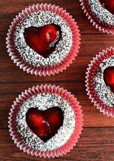 Cherry Heart Cut-Out Cupcakes