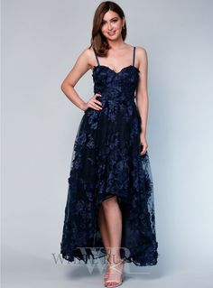 A stunning full length dress by Grace & Hart. Features a sweetheart neckline, delicate floral embroidered mesh and sheer hi-low skirt. Amazing Dresses, Nice Dresses, Formal Dresses, Rehearsal Dress, Wedding Rehearsal, Navy Weddings, Navy Wedding Colors, Hi Low Skirts, White Runway