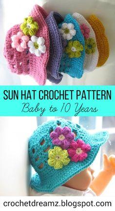 Crochet Sun Hat Pattern- Baby to 10 Years sizes. #crochetsunhat, #crochetbabysunhat, #crochetsunhatpattern, #crochetbabysunhatpattern, #crochettoddlersunhat, #crochettoddlersunhatpattern