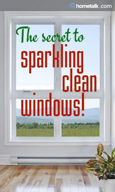 The secret to sparkling clean windows! Dawn dish soap, squeegee, and absorbent cloths