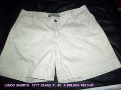 shorts PITT JEANS T. 42 cor: palha 2 bolsos frontais  comprimento: 38cm  cintura: 84cm quadril: 110cm cós:18cm