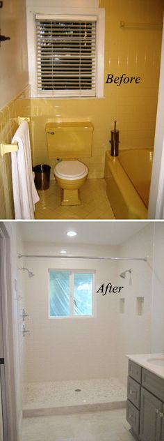 From Yellow to White Bathroom Renovation. Looking for gorgeous faucets, vanities, sinks, corner tubs for your small bathroom see our selection at www.gorgeoustubs.com Bathroom, tiny bathroom, small bathroom, before and after.