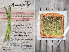 This asparagus tart is SO easy it's kind of fail-proof. Buy some frozen puff pastry (I like Pillsbury). Put one of the sheets of dough on a cookie sheet. Let it defrost a bit then pinch up the edges to make a little crust-like rim. Spread some cheese all over (I used brie, but cream cheese or grated cheese works also), then spread a beaten egg over that. Lay out your asparagus single file (trimmed to the size of the pastry). Sprinkle with nuts and capers if you have some (but it's fi