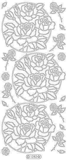 Starform Peel Off Stickers - 1282B - Circle of Roses - Black