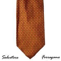 Salvatore Ferragamo Silk Tie Red Orange Gold Mod Pattern