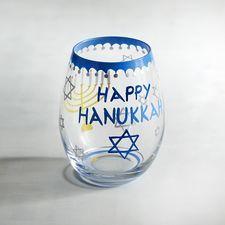 Happy Hanukkah Painted Stemless Wine Glass Hanukkah Bush, Hanukkah Candles, Feliz Hanukkah, Hanukkah Decorations, Happy Hanukkah, Hannukah, Unique Wine Glasses, Painted Wine Glasses, Hanukkah Blessings