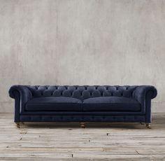 "98"" Kensington Upholstered Sofa in Indigo (Sofa Option #2)"