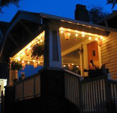 Our simple porch Christmas lights.  And a fresh wreath or the likes on our glasses door.  Simple.