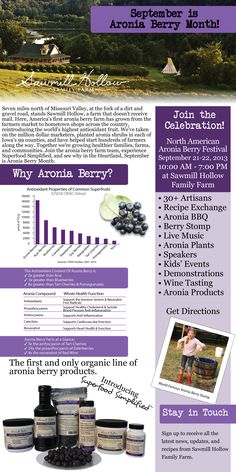 Aronia Berries - more antioxidants than Acai, and they are grown right here in Iowa, USA!!