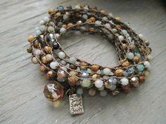 Beachy long crochet 8x wrap bracelet 3x wrap by slashKnots on Etsy, $122.00