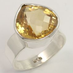 Girl's Fashion Ring Size US 7.75 Natural CITRINE Gemstone 925 Sterling Silver #Unbranded