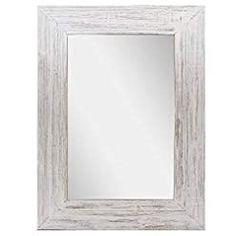 Barnyard Designs Decorative Whitewashed Wood Frame Wall Mirror, Large Rustic Farmhouse Mirror Decor, Vertical or… Wall Mirrors, Framed Wall, Frames On Wall, Farmhouse Mirrors, Rustic Farmhouse, White Mirror, Barn Wood Frames, Whitewash Wood, Vanity Decor