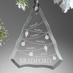 Personalized Family Christmas Ornaments - Glass Christmas Tree - etched glass