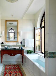 Let the sunlight in while you soak in a deluxe bathroom at @Four Seasons Hotel Istanbul at Sultanahmet.